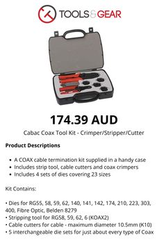 A COAX cable termination kit supplied in a handy case includes strip tool, cable cutters and coax crimpers along with 4 sets of dies covering 23 sizes Computer Gadgets, Tool Kit, Cable, Tools, Personalized Items, Cover, Cabo, Electrical Cable, Instruments