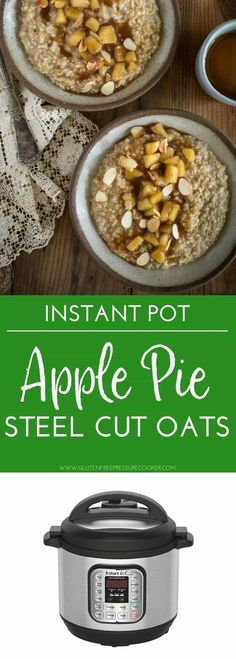 Pressure Cooker Steel Cut Oats with Apple Pie Topping is a fun easy breakfast the whole family will love, you can make it in your instant pot Instant Pot Oatmeal Recipe, Oatmeal Recipes, Crock Pot Recipes, Fun Recipes, Crockpot Meals, Recipies, Cooking Recipes, Instant Pot Pressure Cooker, Pressure Cooker Recipes