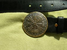Leather belt with Solid Bronze buckle. Vegvisir. Runic