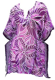 Beach Wear Chiffon Caftan Cover Up Dress Swimwear Cap Sleeves Plus Size Violet. Do YOU want COVER UPS in other colors Like Red | Pink | Orange | Violet | Purple | Yellow | Green | Turquoise | Blue | Teal | Black | Grey | White | Maroon | Brown | Mustard | Navy ,Please click on BRAND NAME LA LEELA above TITLE OR Search for LA LEELA in Search Bar of Amazon. US Size : From Regular 12 (S) TO 16 (XL) ➤ BUST : 41 Inches [104 cms ]➤ Length : 33 Inches [ 83 cms ]. SAVE MONEY Multi-Purpose Use | CAN…