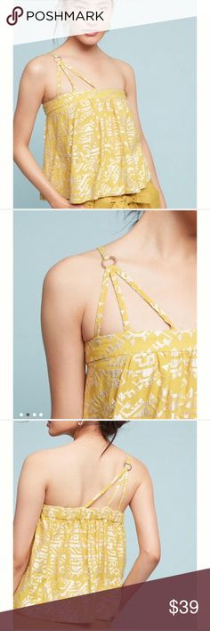 NWT Anthro End of Summer Sale Top NWT the color is gold with white etching it's one shoulder. And elastic band around the top. With a flowy bodice. Gorgeous shirt very unique. So cute with skinny jeans Anthropologie Tops