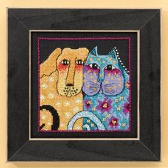 Mill Hill Fur-ever Friends (Linen) - Cross Stitch Kit. Kit Includes: 28 Ct. Black linen, beads, floss, needles, chart and instructions. Finished Size: 5x5. Desi