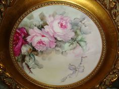 Bavaria - Framed - Hand Painted - Plate - Romantic Bouquets - Pink from onlyfinelines on Ruby Lane