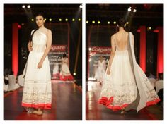 manish malhotra fusion white wedding lehnga dress via IndianWeddingSite.com