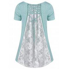 43600f112e3 Plus Size High Low Hem Lace Insert T-Shirt - MINT 2XL