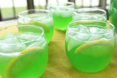 Trisha Yearwood's Green Punch: 2 packets of unsweetened Lemon-Lime Kool-Aid (I can substitute Blue Raspberry Lemonade to change the color), 2 cups sugar, 1 46-ounce can pineapple juice, 12 ounces frozen lemonade concentrate, thawed, 32 ounces ginger ale (1 quart). Put 2 quarts of water in a 1 gallon container. Add the drink mix and sugar, and stir until the sugar dissolves. Then add the pineapple juice and the lemonade concentrate. Stir well. Then right before you serve it add the ginger…