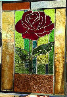 Stained-Glass-Window-Valentine-Red-Rose-Panel-XLarge-only-one