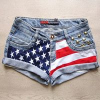 Need to get me some of these for 4th of July!   Make To Order - Vintage High Waist  American Flag Gold Circle Studded Cut Off Shorts