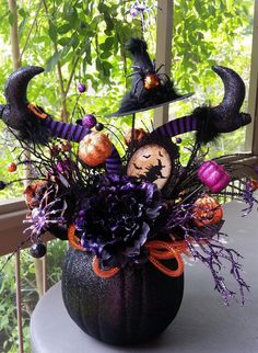 Pumpkin Centerpiece, Halloween Decor, Halloween Floral Arrangement, Orange /Purple/Black Arrangement,Pumpkin Decor,Witch Legs, Witch Hat by SouthTXCreations on Etsy