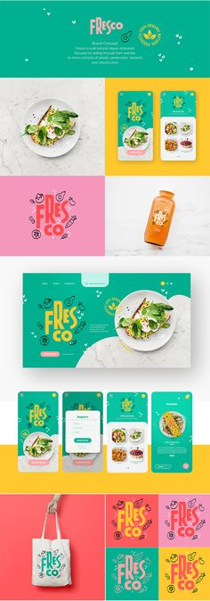 UI & Web Design Logo branding identity & Brand packaging of Fresco (is a all natural/vegan restauran Food Logo Design, Web Design, Fashion Logo Design, Food Packaging Design, Brand Identity Design, Graphic Design Branding, Brand Packaging, Brand Design, Cosmetic Packaging