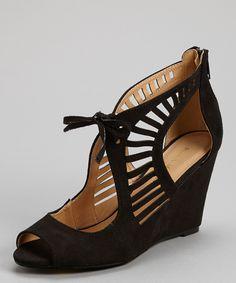 Black Elisha Cutout Wedge Sandal | zulily