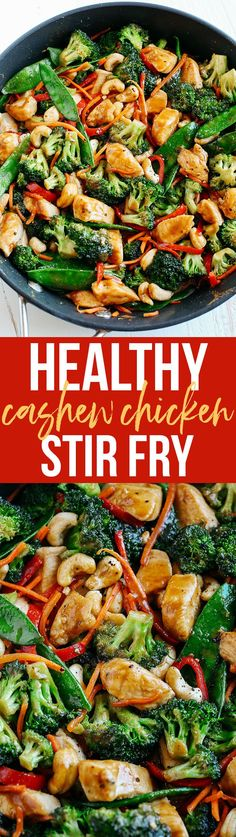 This EASY 20 minute One Skillet Cashew Chicken Stir Fry is the perfect weeknight meal that is healthy, full of flavor and perfect for your weekly meal prep!