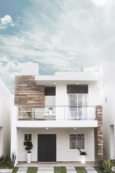 Modern Small House Design, Modern Exterior House Designs, Modern House Facades, Duplex House Design, House Front Design, Minimalist House Design, Terrace House Exterior, Dream House Exterior, Facade House