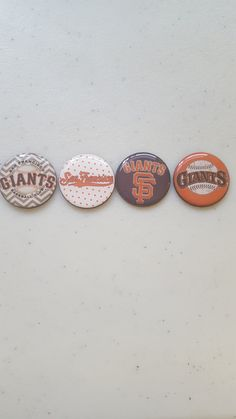 San Francisco Giants baseball 1in. magnets, set of 4.
