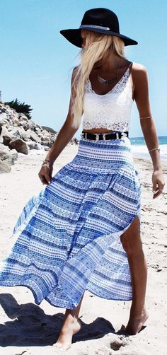 Gypsy Lovin Light Blue Cruxh Beach Outfit Idea
