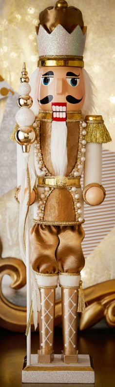 Shop Winter White & Gold Nutcracker at Horchow, where you'll find new lower shipping on hundreds of home furnishings and gifts. Black Christmas, Elegant Christmas, Noel Christmas, Christmas Colors, All Things Christmas, Christmas Themes, Christmas Crafts, Christmas Decorations, Xmas