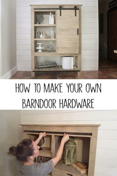 How to make your own barn door hardware - Full tutorial to show you how to diy barn door hardware! Looks just like what you would pay 100s of dollars for but yet it only costs a little over 20 bucks! #diybarndoor #diyhardware #diymeatalworking