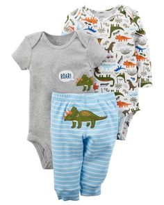 Mix and match with this 3-piece dinosaur set. Featuring two printed bodysuits and coordinating pants, this set will have all eyes on him!