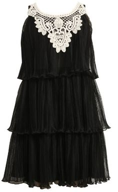 Bonnie Jean Girls 7-16 Sleeveless Tiered Dress With Pleat  Black  7From #Bonnie Jean List Price: $72.00Price: $50.40