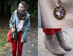 Jean jacket + Leopard Scarf + Red Skinny Jean ...