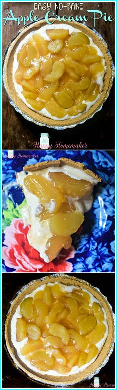 No-Bake Apple Cream Pie - Mrs Happy Homemaker No Bake Desserts, Dessert Recipes, Delicious Fruit, Baked Apples, Eat Dessert First, Strawberries And Cream, Cream Pie, Cream Recipes, Baking