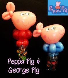 Peppa Pig & George Pig Balloon Candy Cups #peppapig Balloon Crafts, Balloon Decorations, Balloon Animals, Animal Balloons, Peppa Pig Balloons, Pig Candy, Balloon Modelling, George Pig, Balloons And More