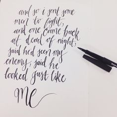 This is what happens when you listen to your iPod when you're looking for inspiration. A little messy but don't look too close  #photooftheday #moderncalligraphy #markers #papermate #lyrics #quotes #calligraphy #print #handmade #typography #handmadefont #handwriting #lettering #etsy #art #ink #handlettered #VSCOcam