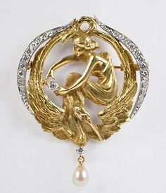 """SPANISH ART NOUVEAU 18 KARAT YELLOW GOLD AND DIAMOND BROOCH. Depicting a maiden holding a round bezel set diamond, atop a crane. Suspended from the crane is another bezel set diamond and a teardrop pearl. Reverse of brooch is stamped """"SANZ"""". Together with original Sanz Barcelona box"""