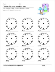 Math Worksheets - Telling Time to the Half Hour Free and awesome