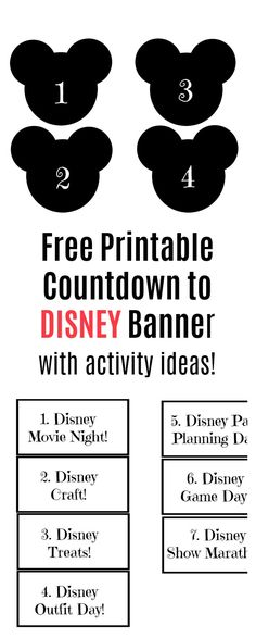 Free Printable Countdown To Disney Banner - Val Event Gal Disney World Vacation Planning, Walt Disney World Vacations, Disney Planning, Disneyland Trip, Disney Trips, Trip Planning, Countdown To Disney, Trip Countdown, Countdown Ideas