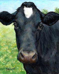 "Holstein Cow Farm Animal Art Print of Original Painting by Dottie Dracos ""Black Face, White Star"" Star Painting, Cow Painting, Holstein Cows, Cow Pictures, Cow Face, Black Cow, Baby Cows, Farm Art, Tier Fotos"