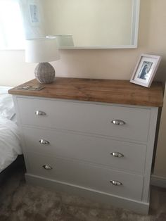 Deep drawer chest in F&B Cornforth White with a Rustic plank top. www.cobwebsfurniture.co.uk