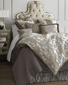 """""""Pure+Pewter""""+Bed+Linens+by+Dian+Austin+Couture+Home+at+Horchow."""