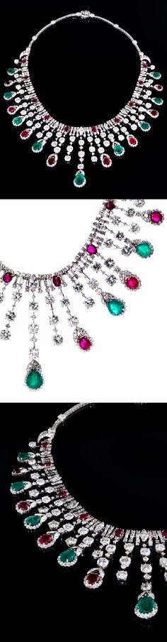 David Webb - A late Art Deco platinum, emerald, ruby and diamond necklace, about 1940. Signed WEBB.