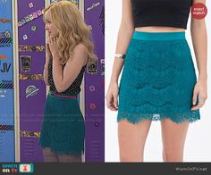 Liv's teal lace skirt on Liv and Maddie.  Outfit Details: http://wornontv.net/48077/ #LivandMaddie