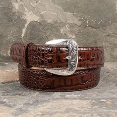 Tony Lama Chocolate Caiman Dress Belt