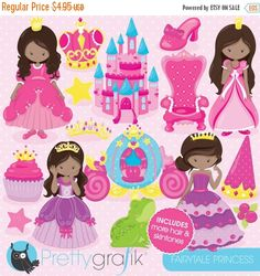 BUY 10 GET 10 OFF - Fairytale princess clipart for scrapbooking commercial use vector graphics digital clip art images - by Prettygrafikdesign Digital Scrapbook Paper, Digital Stamps, Image Paper, Create Invitations, Slumber Parties, Paper Decorations, Happy Planner, Vector Graphics, Art Images