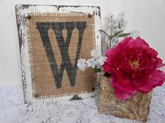 Family letter name wedding sign, B, N, G, H, L, Q, S, A, C, or your letter burlap monogram cottage style via Etsy