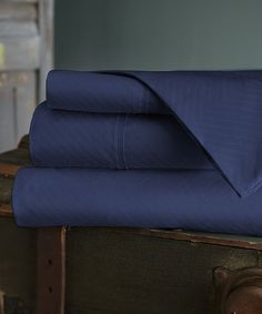 Love this Navy Oxford Chevron Embossed Sheet Set on #zulily! #zulilyfinds