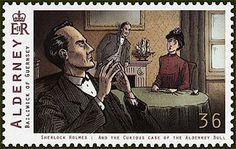 Guernsey, England recognized the anniversary of Sir Arthur Conan Doyle, creator of Sherlock Holmes, with a new issue of stamps. This stamp was issued in Sir Arthur, Arthur Conan Doyle, Detective Sherlock Holmes, Famous Detectives, Mystery Stories, Mrs Hudson, Stamp Collecting, Postage Stamps, Illustration