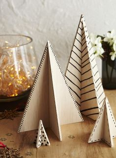 No room for a real Christmas tree? These table top balsa wood decorations make perfect alternatives!