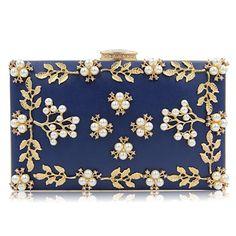 91b996b9a7 Amazon.com: Women Evening Clutch Bags Beaded Flower Clutch Purse for  Wedding Evening Reception