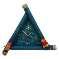 Triangle Bamboo Wall Clock - Blue