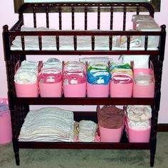 dream set up for cloth diaper changing station...need to reorganize our changing cloth diaper station like this for timmy and jace