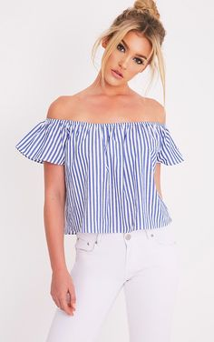 Luana Blue Stripe Bardot Top