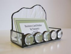 """Stained Glass Business Card Holder - Clear """"Waterfall"""" with Glass Nuggets."""