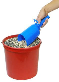Bird Seed Scoop -- BP:  I love this scoop especially for expensive Nyjer Seed!! Fill it up then funnel it into the feeder via the handle.  Got it at farm & fleet.