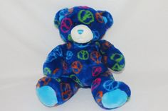 b9758a59416 Build a Bear Navy Dark Blue Bright Peace Signs Hippie Plush Stuffed Toy 14