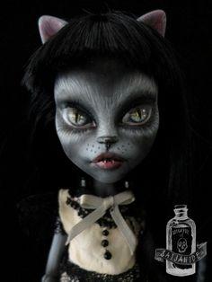 custom monster high doll repaint ooak cat twin by Saijanide