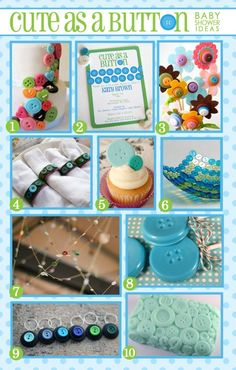 Baby Shower Ideas | Cute as a Button — Simply SwankyLOTS OF PARTY SHOWER STUFF!